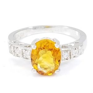 Jewelry - Sterling Silver Citrine & CZ Ring Size 7
